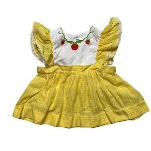 Nanette VTG 80s Pinafore Yellow Plaid Strawberry Neckline Dress Baby Girl 18M