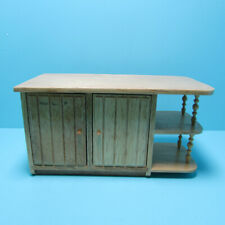 Dollhouse Miniature Wood Kitchen Island with Cabinet and Shelves in Oak T4120