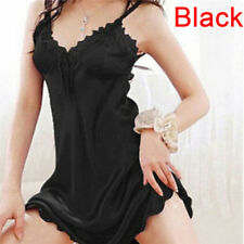 Women Sleepwear Nightgown Satin Silk Babydoll Lace Robes Sleep Dress Skirt IO Black