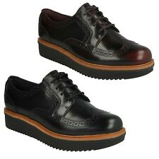 LADIES CLARKS LEATHER LACE UP BROGUE CASUAL LOW HEEL SHOES SIZE TEADALE MAIRA