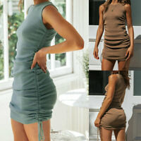 Women's Sleeveless Ruched Mini Dress Ladies Summer Casual Long Top Bodycon Dress