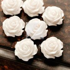 15 White Resin Love Flower ROSE Flatback Cabochon Bead 14.5x14.5mm RB0739-22