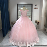 Pink Quinceanera Dress 3D flowers Beaded Princess Ball Gown Prom 16 Off Shoulder