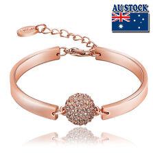 18K Rose Gold Filled Solid Lovely Fashion Crystal Ball Bracelet Bangle