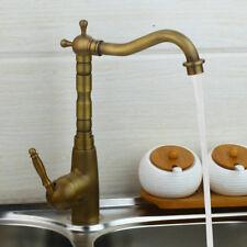 Antique Brass Kitchen Sink Swivel Spout Mixer Faucet Single Lever/Hole Wash Taps