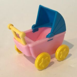 """Doll House Size Baby Doll Carriage Stroller 3"""" Pink Blue"""