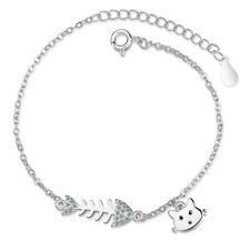 Ladies 925 Sterling Silver Cute Cat Zircon Fish Chain Bracelet Birthday Gift