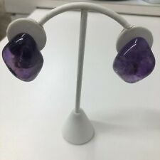 Monies Earrings Amethyst Purple Glass Large Chunky Clip On