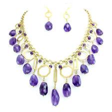 Necklace earrings natural amethyst gemstone faceted handmade jewellery 98 grams