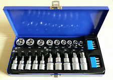 "27Pc 3/8"" 1/2"" Drive Star Torx E Socket & Bit Set 4 Ratchet Torque Wrench Bolt"
