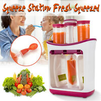 Baby Feeding Food Squeeze Station Toddler Fruit Maker Dispenser Reusable Pouches