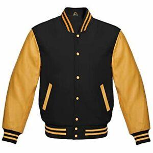 Varsity Letterman Baseball Jacket Black Wool & 100% Gold Color Leather Sleeves