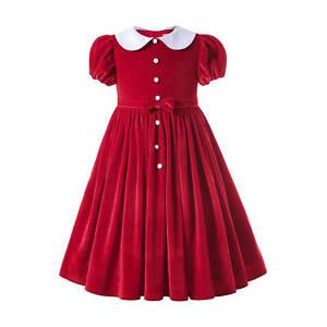 Pettigirl Spanish Girl Red Christmas Velvet Dress Princess Wedding Dresses 3-12