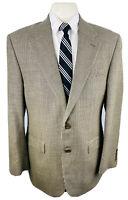 Ralph Lauren Mens 40R Beige Houndstooth Silk Wool Blazer Sport Coat Suit Jacket