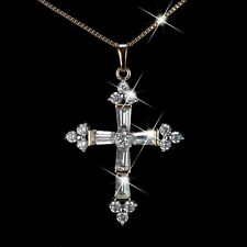 18k yellow gold gp made with Swarovski crystal cross pendant box chain necklace