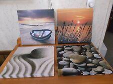 Set of 4 Seaside Beach Canvas Art Prints *NWOT*