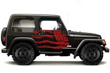 Vinyl Graphics Decal Wrap Kit fits 1999-2006 Jeep Wrangler Rubicon PATRIOT Red