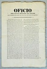 PERU clerical christian gazette OFICIO print document to bishop of Cuzco 1834