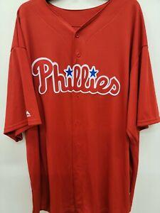 1409-5 Mens Majestic Philadelphia Phillies Full Button Down Baseball Jersey XXXL