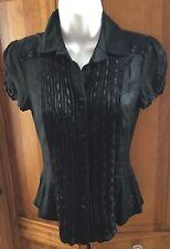 Bebe Black Juniors Ruffle Lacy Button Front Silk Blouse Top Sz XS Guc