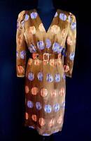 RARE DESIGNER CUSTOM MADE QUALITY 1980'S BROWN SILK CHINESE BROCADE DRESS SIZE 6