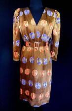 Raro Diseñador a Medida Calidad 604mS Marrón Seda Chino Brocado Vestido Talla 6