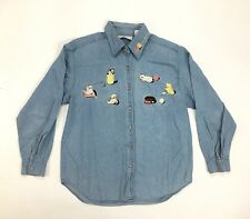 Christopher Banks Womens Denim Jean Embroidered Cat Long Sleeve Button Shirt M