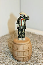 Emmett Kelly Jr Flambro Porcelain Hobo Clown Figurine On Barrel Bell