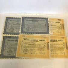 6 X Vintage 1930s Wisconsin empresa de inversiones certificados de acciones (cancelado)