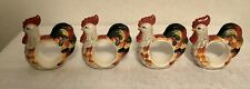 Ceramic Rooster Napkin Ring Holders Chicken Hen Vintage MultiColor Lot Of 4 Used