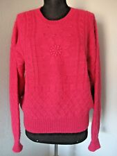 Peruvian Connection Alpaca Sweater Size Medium Pink Pullover Flower Center #1397