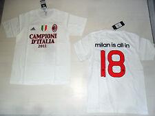 AC MILAN IS ALL IN MAGLIA MAGLIETTA S T-SHIRT CAMPIONI D'ITALIA 2011 ADIDAS