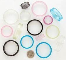 1 Pair Hollow U.V. Glitter Ear Tunnels Plugs Extreme Gauges Choose Color / Size