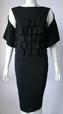 Giambattista Valli noir soie ruffle-front robe de cocktail UK 8 US 4 il 40