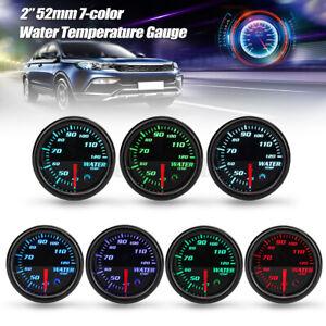 "2"" 52mm 7 Color LED Water Temp Temperature ℃ Gauge Meter With Sensor BLACK"