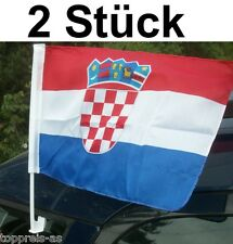 2x AUTOFAHNE KROATIEN FLAGGE FUßBALL WM 2014 FAHNE AUTOFLAGGE HRVATSKA CROATIA