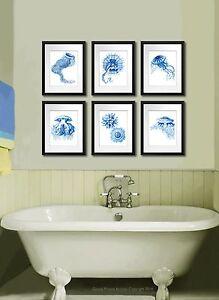 Blu Medusa Stampa Set Di 6 Spiaggia Arte Costiero Decorazione Nautico Casa