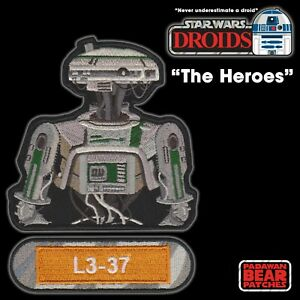 """Star Wars DROIDS """"The Heroes"""" L3-37 from """"SOLO"""" set of 2 embroidered patches"""