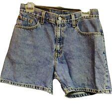 LEVIS 555 Guys Fit Denim Jean Shorts Women Size 8 High Waist Mom Short Red Tab