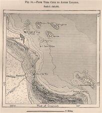 From Veracruz to Anton Lizardo. Boca del Rio. Mexico 1885 old antique map