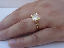 14K YELLOW GOLD SOLITAIRE WEDDING RING W/ 4 CT PRINCESS YELLOW DIAMOND /SZ 5TO10