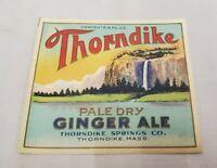 Vintage Thorndike Springs Pale Dry Ginger Ale Soda Label NOS