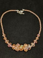 Artisan Silver Tone Pink Peach Faceted Bead Statement Necklace Graduated