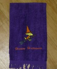 "Embroidered HALLOWEEN Snoopy ""WOODSTOCK"" on a broom Purple Fingertip Towel"