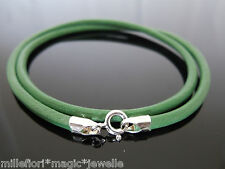 """3mm Green Leather 925 Sterling Silver Necklace Or Wristband 16"""" 18"""" 20"""" 22"""" 24"""""""