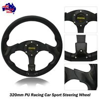 NEW Black Sport 320mm PU Steering Wheel with Horn Button (8904)
