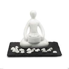 Relaxing set with black stone plate, ceramic yoga figurine ceramic diffuser