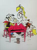 Unikat Mooseart Comic Zeichnung Lucky Luke Gouache Papier 30x42cm Original