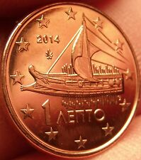 Gem Unc Greece 2014 1 Euro Cent~Ancient Athenian Trireme~Minted In Athens~Fr/Shi
