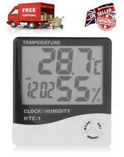 Termómetro Digital LCD Medidor de Humedad Reloj Habitación Interior Higrómetro Batería de coche